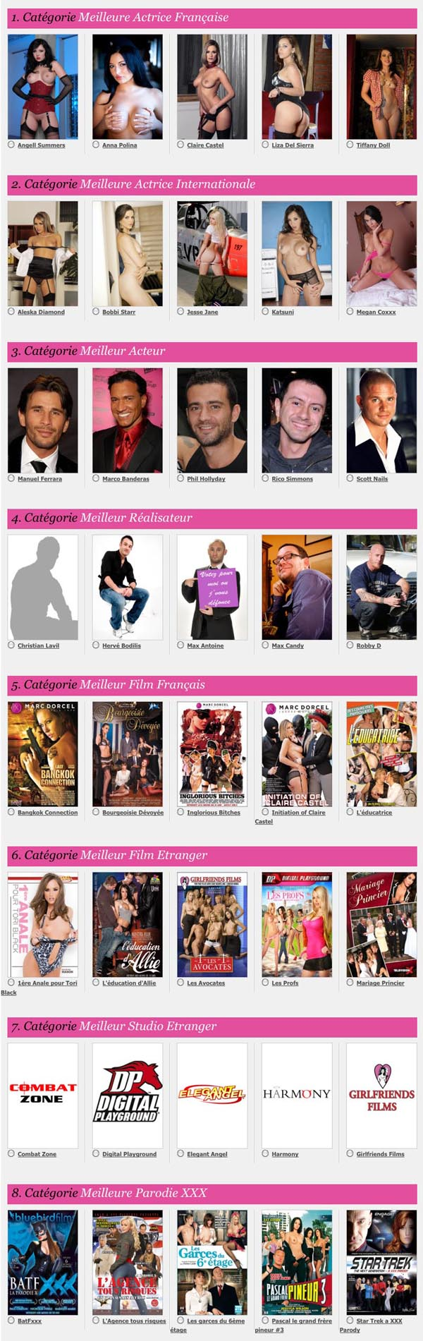 Dorcel Awards 2012 Nominés